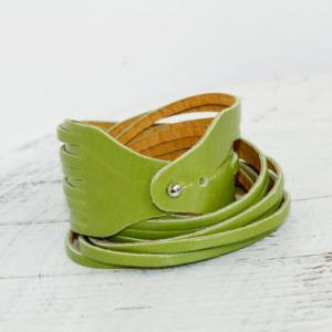 Light Green Genuine Leather Double ..