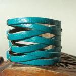 BraideTurquoise Leather Cuff Bracel..