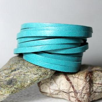 Mini Sliced Teal Leather Double Wrap Cuff Bracelet